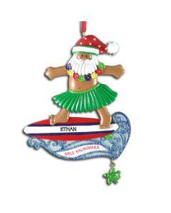 102T: Hawaiian Surfing Santa w/ Turtle
