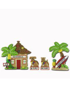 LR115 (2) + LR215C + LR215D: Hut, Palm Tree, Cat & Dog