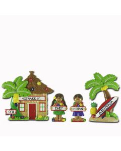 LR115 (2) + LR215G + LR215B: Hut, Palm Tree, Girl & Boy Set