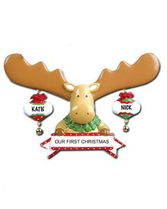 LR412: MOOSE W/ 2 ORNAMENTS (FIRST CHRISTMAS)