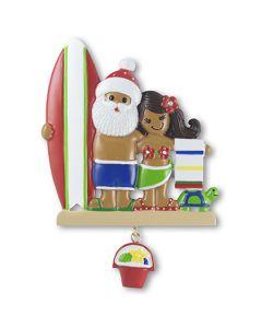 NT215: Tropical Santa & Girl w/ Surfboard