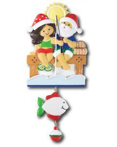 NT233 + LR007 (1): Fishing Couple (Santa w/Blue Shirt) + 1 Fish