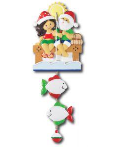 NT233 + LR007 (2): Fishing Couple (Santa w/Green Shirt) + 2 Fishes