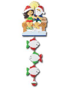 NT233 + LR007 (3): Fishing Couple (Santa w/Blue Shirt) + 3 Fishes
