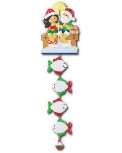 NT233 + LR007 (4): Fishing Couple (Santa w/Green Shirt) + 4 Fishes