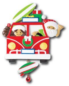 NT259+LR006:  VW Van Santa & Mrs. Claus + (1) Linking Surfbrd