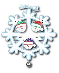 WA111 + WA312(3): Snowflake w/Bell + Snowface(3)