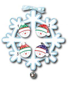 WA111 + WA312(4): Snowflake w/Bell + Snowface(4)