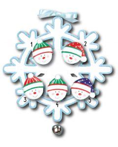 WA111 + WA312(5): Snowflake w/Bell + Snowface(5)